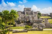 stock photo of mayan  - Mayan Ruins Besides Caribbean Sea - JPG