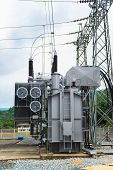 image of transformer  - Transformer station and the high voltage electric pole - JPG