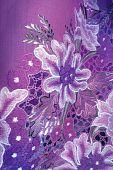 Purple Kebaya cloth with white flowers