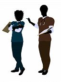 Africano-Americana fêmea e macho médico silhueta