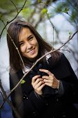 picture of shy girl  - portrait of a shy girl in the forest - JPG