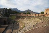pic of messina  - Tourists at ancient Greek theatre - JPG