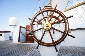 picture of tall ship  - Ships helm on deck of a clipper ship - JPG