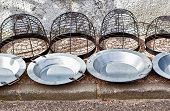 picture of brazier  - Brass braziers for sell on traditional rural street market - JPG