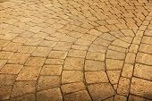 picture of cobblestone  - Pavement paved with cobblestone with water drops in grunge - JPG