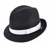 stock photo of fedora  - Fedora like black hat with a white tape isolated over white background - JPG