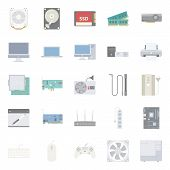 stock photo of peripherals  - Computer components and peripherals flat icons set graphic illustration design - JPG