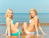 picture of denude  - Enjoying In Bikini on a Beach  - JPG