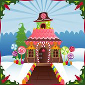 foto of gingerbread house  - Gingerbread House in the winter - JPG