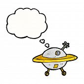 image of flying saucer  - cartoon flying saucer with thought bubble - JPG