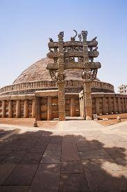 image of ashoka  - Great Stupa built by Ashoka the Great at Sanchi - JPG