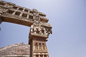 stock photo of ashoka  - Carved gateway to the Great Stupa built by Ashoka the Great at Sanchi - JPG