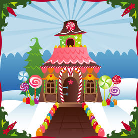 picture of gingerbread house  - Gingerbread House in the winter - JPG