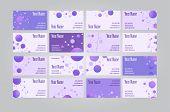 picture of visitation  - Set of sixteen violet scientific geometric visit cards - JPG