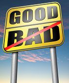 stock photo of morals  - good bad a moral dilemma about values right or wrong evil or honest ethics legal or illegal  - JPG