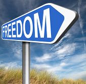 stock photo of democracy  - freedom no restrictions road sign peaceful free life without or obligations and peace democracy with text and word concept  - JPG