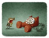 pic of shout  - illustration of businessman shouting at a red phone - JPG