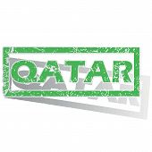 pic of qatar  - Green stamp with name Qatar and shadow - JPG