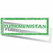 foto of turkmenistan  - Green stamp with name Turkmenistan and shadow - JPG