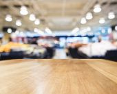stock photo of supermarket  - Table top counter Bar with Blurred Supermarket Interior background  - JPG