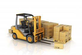 foto of forklift  - Forklift truck with boxes. Cargo isolated on white background