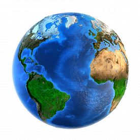 image of landforms  - Detailed picture of the Earth and its landforms isolated on white - JPG