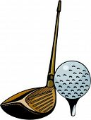 Close-up de uma vara de golfe e uma bola. Cores Pantone. Vetores muito limpos.