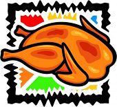 A vector illustration of a chicken.