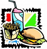 A vector illustration of a hamburger with potatoes and drink.