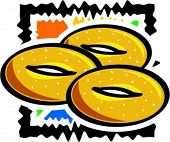 A vector illustration of a sesame ring.