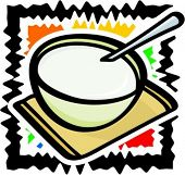 A cup of yoghurt with a spoon. Vector illustration.