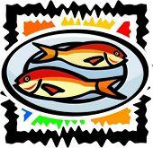 Seafood - fish. Vector illustration.