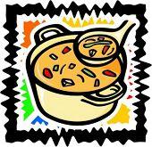 Vegetable soup. Vector illustration.