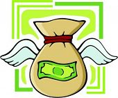 Moneybag with wings.Vector illustration