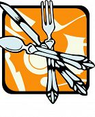 Fork, spoon and knife.Vector illustration