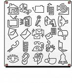 Um conjunto de 25 ícones de vetor de objetos de comunicação.Cada ícone é desenhado com uma única linha sinuoso.