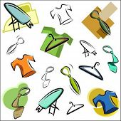 A set of vector icons of clothing and accessories in color, and black and white renderings.