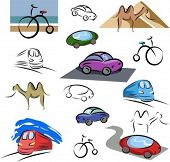 A set of transportation vector icons in color, and black and white renderings.