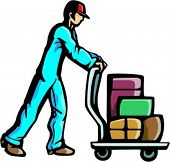 A ready-to-cut vector illustration of a man pushing a cart with luggage. Might be a doorman at a hot