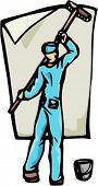 Una ilustración del vector de la listo-a-cut de un hombre, pegar un cartel.