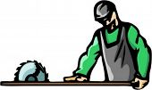 A ready-to-cut vector illustration of a carpenter, cutting a wooden plank.