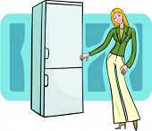 A vector illustration of a shopping blonde girl looking at a refrigerator.