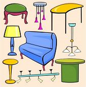 A set of 9 vector illustrations of tables, stool, sofa, lamps, lighting, chandeliers and pendants.