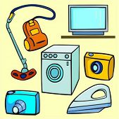 A set of 6 vector illustrations of vacuum-cleaner, television, washing machine, photo cameras and ir