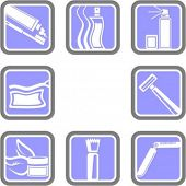 A set of 8 cosmetics vector icons.