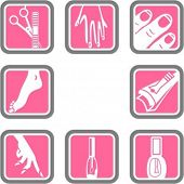 stock photo of nail-cutter  - A set of 8 cosmetics vector icons - JPG