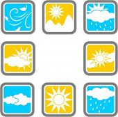 A set of 8 weather vector icons.