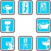 picture of clawfoot  - A set of 8 bathroom vector icons - JPG
