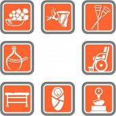 A set of 8 vector icons of hospital objects.