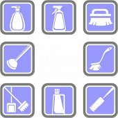 A set of 8 houseware vector icons.